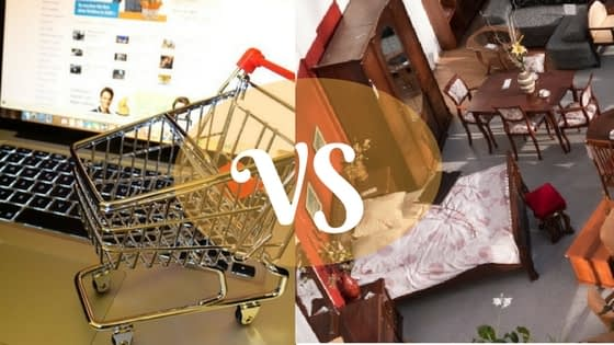 Buying furniture online vs. in-store.